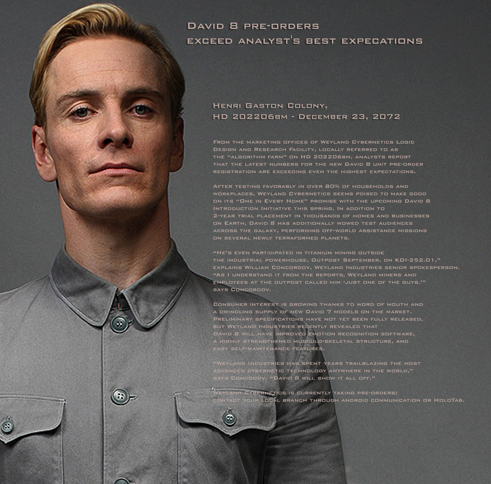 "Michael Fassbender: ""Prometheus"" Project - David 8 Pre-Orders"